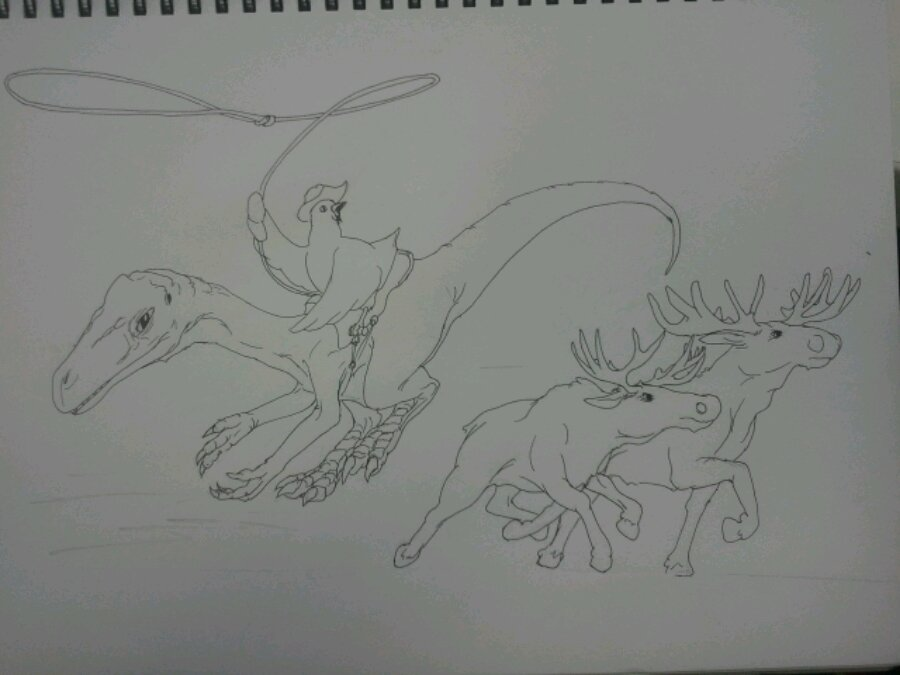 Moose herding chicken on a dinosaur