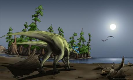 Hadrosaur with colour