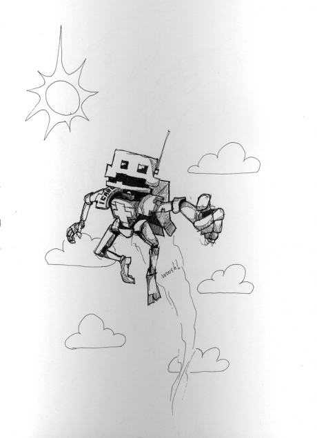 Robot, with a jet pack