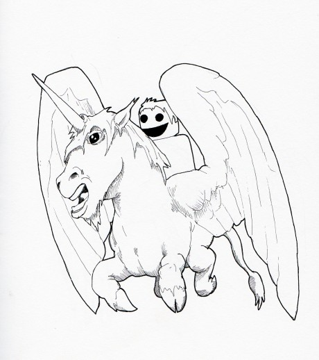 pegicorn, with a guy