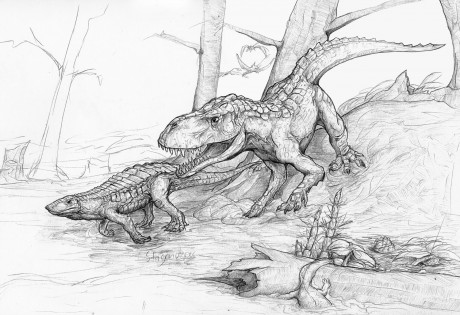 A Postosuchus and a Stagonolepis