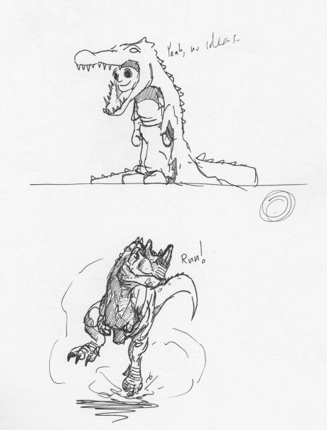 Croc Suit and Ceratosaurus